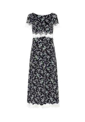 Lace-trimmed floral silk midi dress