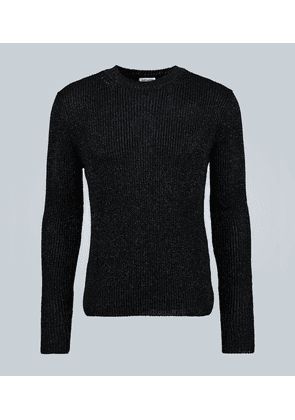 Round-neck metallic sweater