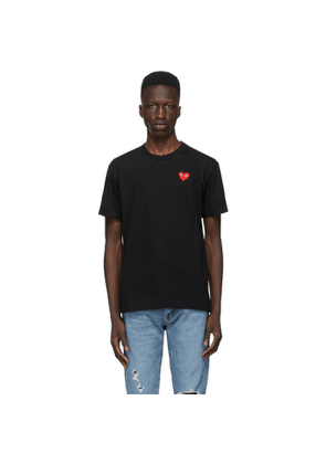 Comme des Garcons Play Black and Red Heart Patch T-Shirt