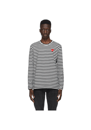 Comme des Garcons Play Black and White Striped Heart Patch Long Sleeve T-Shirt