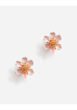 Dolce & Gabbana Bijoux - CLIP-ON EARRINGS WITH HAND-PAINTED FLOWER GOLD female OneSize