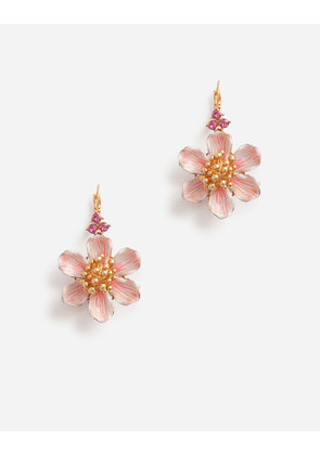 Dolce & Gabbana Bijoux - LEVERBACK EARRINGS WITH HAND-PAINTED FLOWER GOLD female OneSize