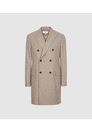 Reiss Lewis - Wool Blend Double Breasted Overcoat in Oatmeal, Mens, Size S