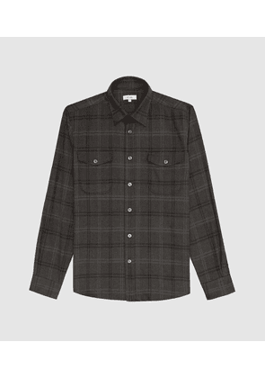 Reiss Grisham - Checked Overshirt in Black, Mens, Size XS