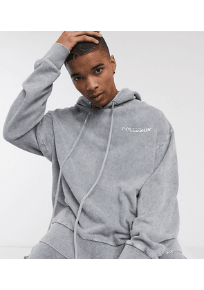 COLLUSION oversized hoodie in washed grey