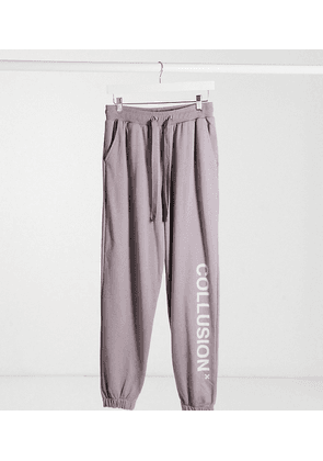 COLLUSION Unisex logo joggers in grey