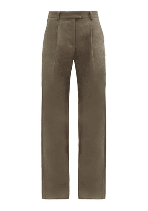 Bella Freud - Angie High-rise Wide-leg Trousers - Womens - Khaki