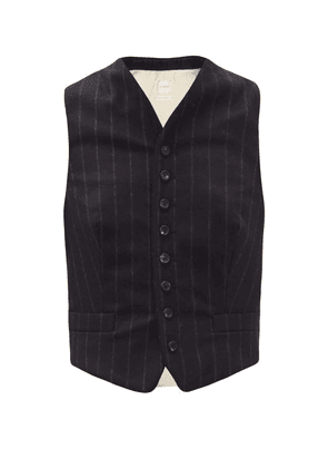 Zanini - Pinstripe Virgin Wool And Linen-blend Waistcoat - Womens - Blue Stripe