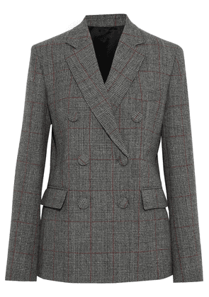 Helmut Lang Double-breasted Prince Of Wales Checked Wool Blazer Woman Anthracite Size 8