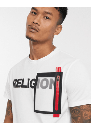 Religion patch detail logo t-shirt in white