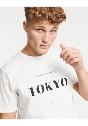 Topman t-shirt with Tokyo Print in white