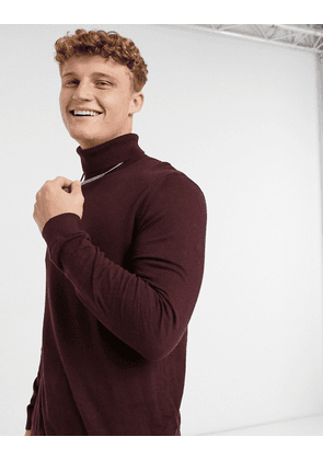 Topman knitted roll neck jumper in burgundy-Red