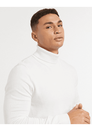 Topman knitted turtle neck jumper in white