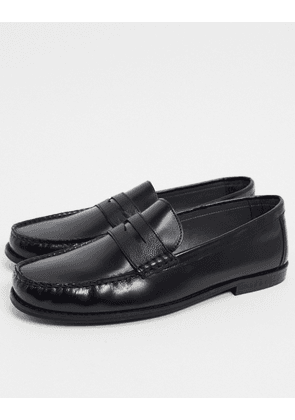 Topman leather loafers in black