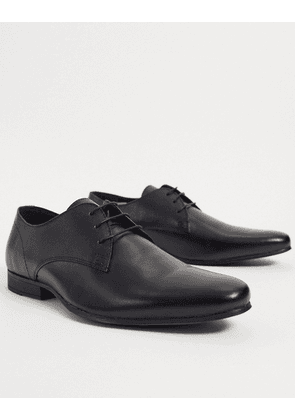 Topman leather derby shoes in black