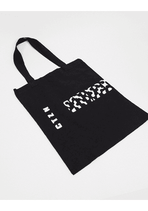 ASOS DESIGN heavyweight tote bag with placement graphic in black