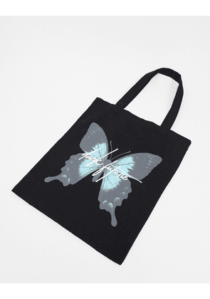 ASOS Dark Future heavyweight tote bag in black with butterfly print