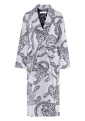 Desmond & Dempsey jaguar-print cotton robe - White