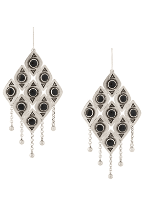 Saint Laurent gemstone diamond shaped earrings - SILVER