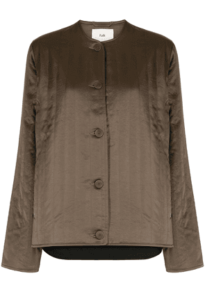 Folk lightly-quilted collarless jacket - Green