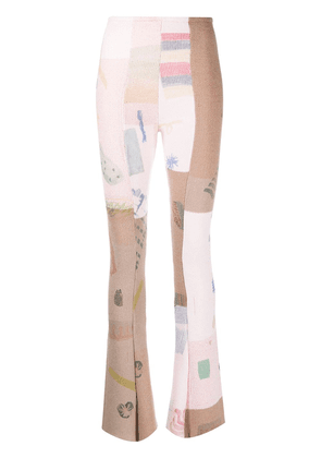 Eckhaus Latta patchwork knitted trousers - PINK