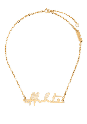 Off-White logo pendant necklace - Gold