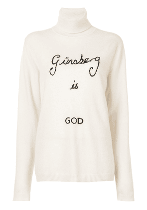 Bella Freud Ginsberg Is God intarsia cashmere jumper - White