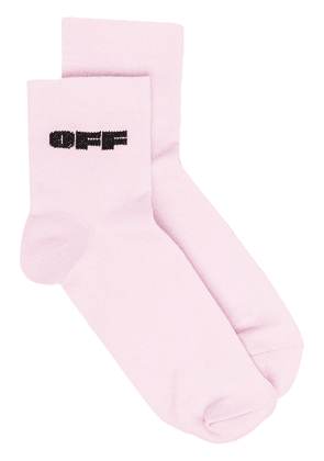 Off-White intarsia-logo ankle socks - Pink