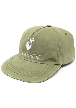 Off-White logo-embroidered cap - Green