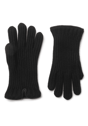 Loro Piana - Leather-Trimmed Ribbed Cashmere Gloves - Men - Black
