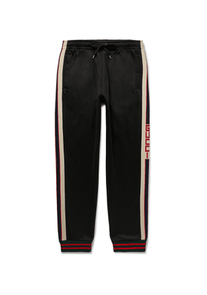 GUCCI - Tapered Webbing-Trimmed Tech-Jersey Track Pants - Men - Black