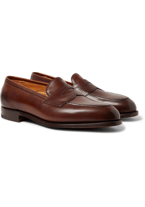 EDWARD GREEN - Piccadilly Leather-Trimmed Suede Penny Loafers - Men - Brown - UK 7