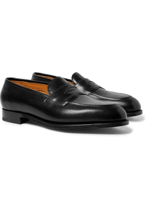 EDWARD GREEN - Piccadilly Leather-Trimmed Suede Penny Loafers - Men - Black - UK 7