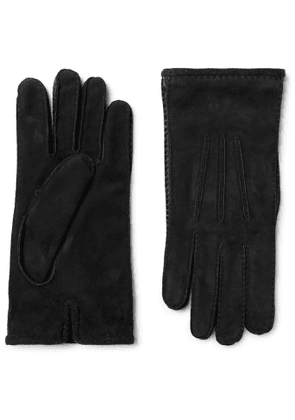 Loro Piana - Damon Baby Cashmere-Lined Suede Gloves - Men - Black