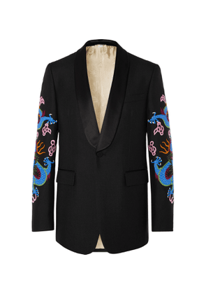 GUCCI - Black Embroidered Satin-Trimmed Wool and Mohair-Blend Tuxedo Jacket - Men - Multi