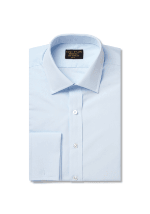 EMMA WILLIS - Blue Double-Cuff Cotton Shirt - Men - Blue - UK/US 15