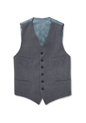 Kingsman - Conrad Checked Wool and Satin Waistcoat - Men - Blue