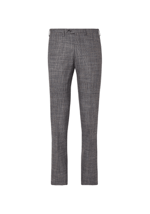Kiton - Slim-Fit Puppytooth Cashmere, Virgin Wool, Silk and Linen-Blend Suit Trousers - Men - Multi