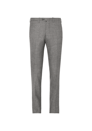 Kiton - Grey Slim-Fit Micro-Puppytooth Cashmere, Linen and Silk-Blend Suit Trousers - Men - Gray