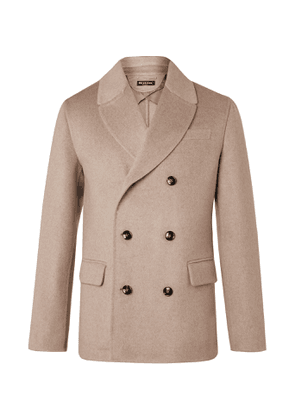Kiton - Double-Breasted Cashmere Peacoat - Men - Neutrals