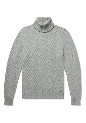 Kiton - Slim-Fit Cable-Knit Cashmere Rollneck Sweater - Men - Gray