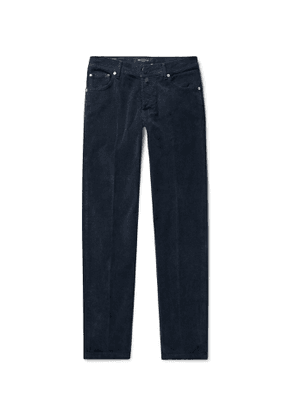 Kiton - Slim-Fit Stretch Cotton and Wool-Blend Corduroy Trousers - Men - Blue