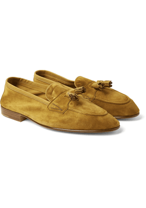Edward Green - Portland Leather-Trimmed Suede Tasselled Loafers - Men - Yellow