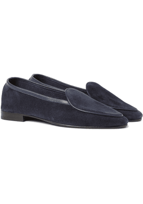 George Cleverley - Hampton Leather-Trimmed Suede Loafers - Men - Blue