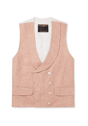 Favourbrook - Slim-Fit Double-Breasted Linen-Jacquard Waistcoat - Men - Pink