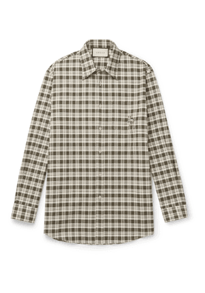 GUCCI - Embroidered Checked Cotton Shirt - Men - Green - UK/US 15