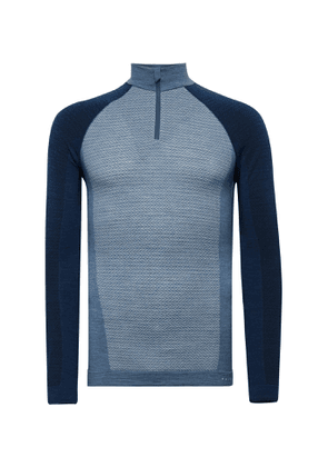 FALKE Ergonomic Sport System - Panelled Stretch Virgin Wool-Blend Ski Base Layer - Men - Blue