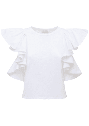 Cotton Jersey T-shirt W/ruffled Sleeves
