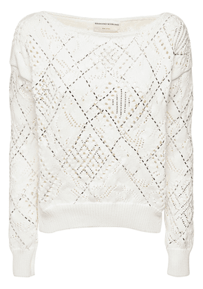 Crystal Embellished Open Knit Sweater