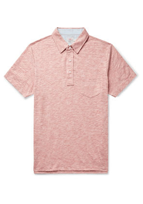 Faherty - Chambray-Trimmed Mélange Cotton-Blend Jersey Polo Shirt - Men - Red